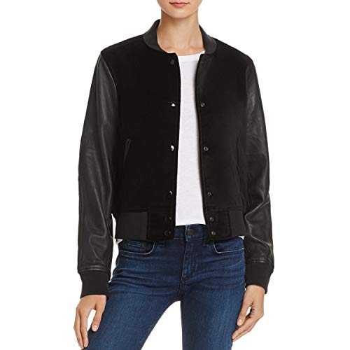 (rag & bone Womens Camden Leather Faux Suede Varsity Jacket Black L)