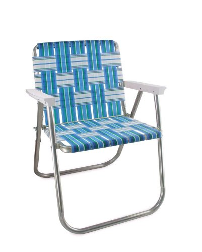 Genial Lawn Chair USA Aluminum Webbed Chair (Picnic Chair, Sea Island With White  Arms)