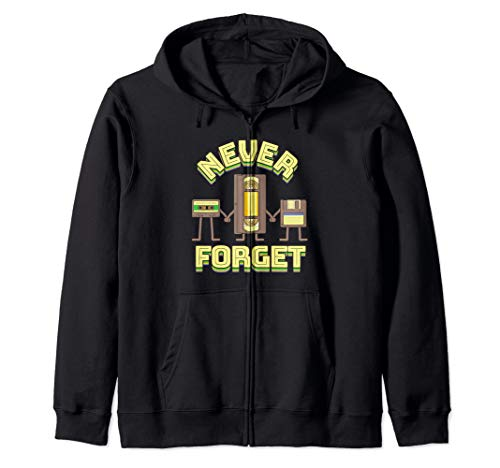 Never Forget Funny Floppy Disk VHS Tape 90s 80s Cassette Zip Hoodie -