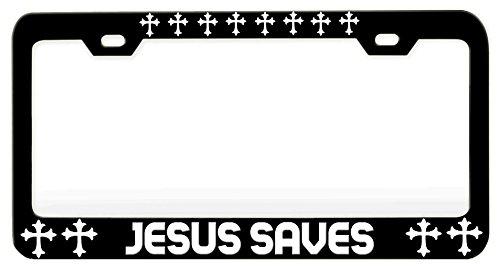 Custom Brother - JESUS SAVES, Religious Jesus Christian Car SUV - Black Steel Metal License Tag Holder, License Plate (Jesus Saves Car)