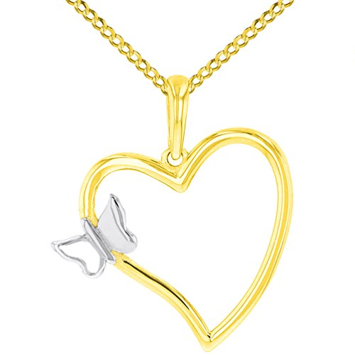 Solid 14K Yellow Gold Curved Open Heart with Butterfly Charm Pendant Cuban Necklace, 16