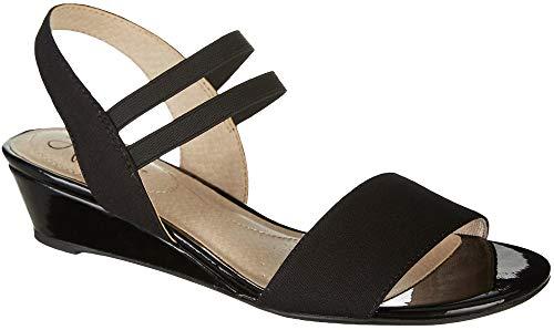LifeStride Women's YOLO Wedge Sandal, Black, 8 M US (Sandal Low Wedges Shoes For Women)