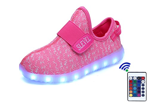 SLEVEL 16 Colors Breathable LED Light Up Shoes Flashing Sneakers for Kids Boys Girls(S33APink32)
