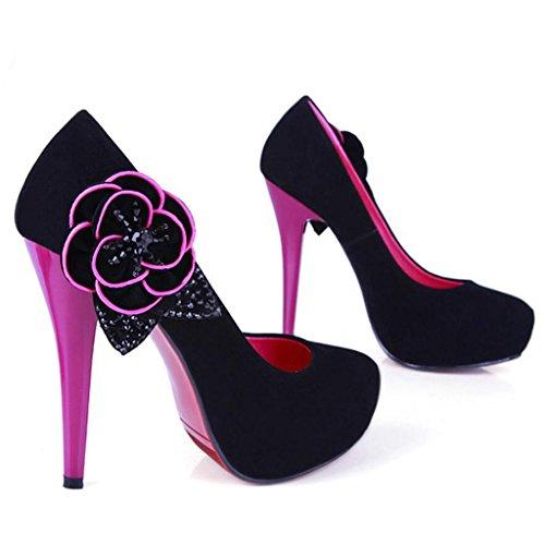 W&LM Sra Tacones altos Flores Piedras de Strass Boca rasa Cabeza redonda Zapatos individuales Plataforma a prueba de agua Ultra Multa Tacones altos Red