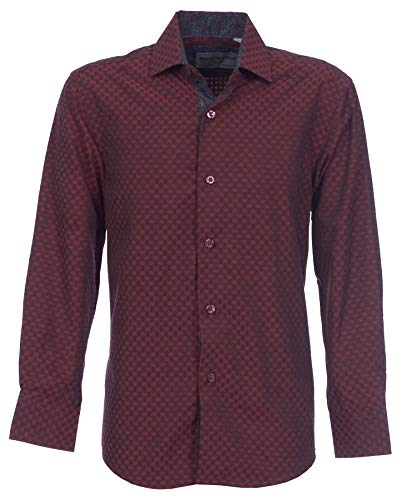 Suslo Couture Boys Button Front Long Sleeve Shirt (Burgundy, -