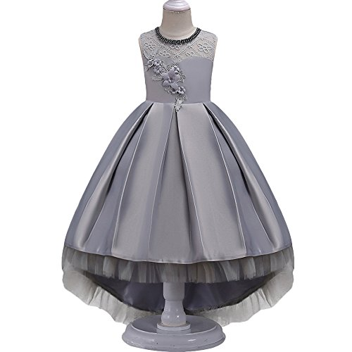 HUANQIUE Girls Hi-Low Wedding Pageant Dress Flower Girl