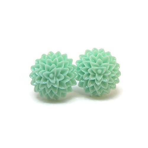 15Mm Dahlia Earrings On Plastic Posts For Metal Sensitive Ears  Aqua