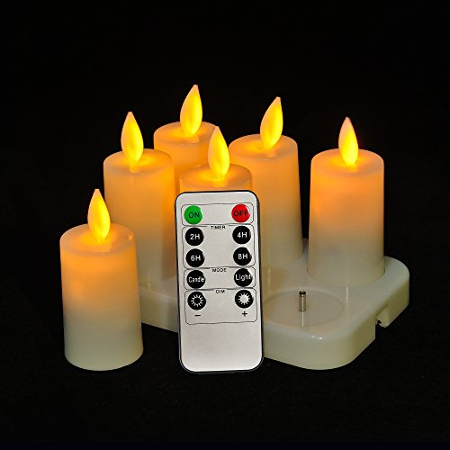 ANGROC Rechargeable Remote Control Flameless LED Tea Light Candle,Vivid Swing Flame Wick,Plus Timer,Dimmer,Steady and Flash Function(Set of 6 ) by ANGROC