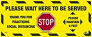 NMC WFS75 STOP! Please Wait Here To Be Served, Social Distancing Floor Sign, Walk-On Non-Slip Pressure Sensiti