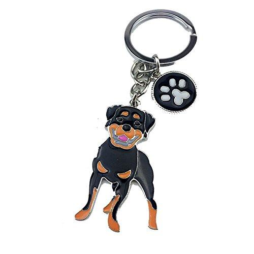 BBEART Dog Keychain ring, Cool Cute Pet Dog Keyring Bag Charm Mini Metal Key Ring Keyfob (Rottweiler Metal)