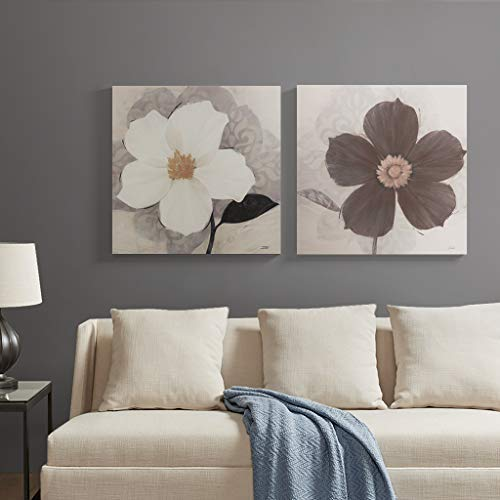 - Printed Canvas Set - 2 Pieces, 18'' x 18'' - Blooms Floral - Black and White Flower