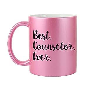 Mama Birdie Best Counselor Ever Coffee Cup/Tea Mug - Script Print (Glitter Pink)