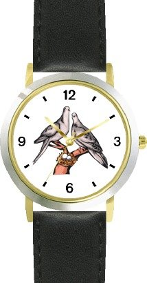 Love Birds (Doves) Bird Animal - WATCHBUDDY DELUXE TWO-TONE THEME WATCH - Arabic Numbers - Black Leather Strap-Size-Women's Size-Small by WatchBuddy