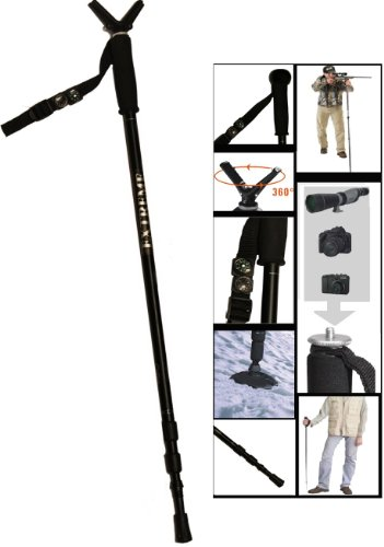 Extreme Deluxe Walking Height Adjustable Collapsible & Shock Absorbing Stick Monopod Telescopic Hiking Pole Kit With Integrated Camera Mount (29'' - 63'' ) by Extreme