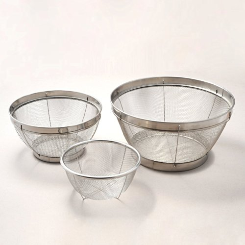 Happy Sales HSQL036/A, Stainless Mesh Colander - 3 Piece Set