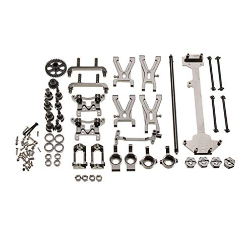 Soosch WLtoys 1/18 A949 A959 A969 A979 K929 Upgraded Metal Parts Kit RC Car Electric Buggy Vortex Hop-up Parts (Silver)