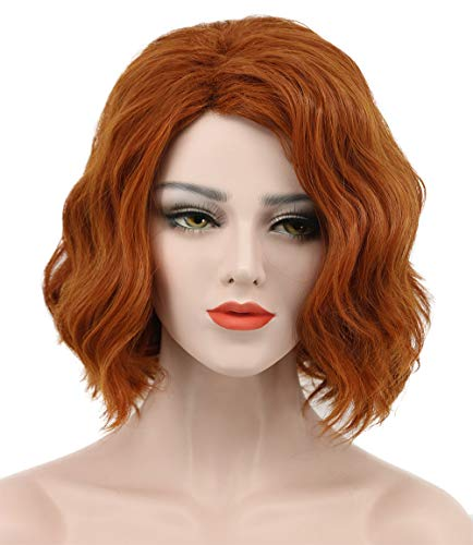 Karlery Women's Short Bob Loose Wave Orange Wig Halloween Cosplay Wig Anime Costume Party Wig