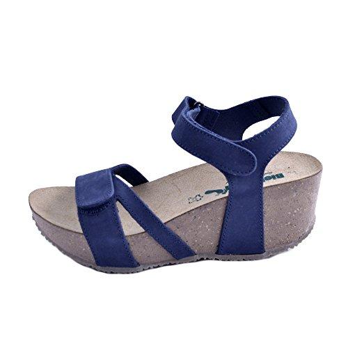 Bionatura N Italie 37 Velcro Cuir Avec Pour Double Femmes En Foncé Fermeture Bleu Sandales Nubuck Fabriqué rqp6wr