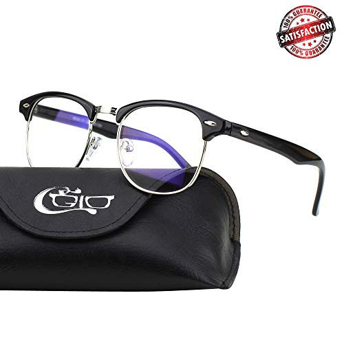 CGID CT56 Horn Rimmed Blue Light Blocking Glasses,Better Sleep,Anti Glare Fatigue Blocking Headaches Eye Strain,Great for Cell Phone Readers,Black Frame,Transparent ()