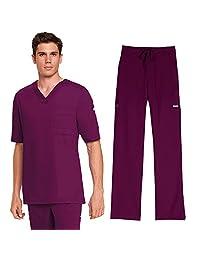 Grey's Anatomy Mens 0103 V-Neck Top & 0203 Drawstring Pant Scrub Set