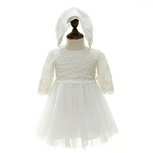 Dream Rover Baby Girl Dress 2PCS Christening Baptism Long Sleeves Dress