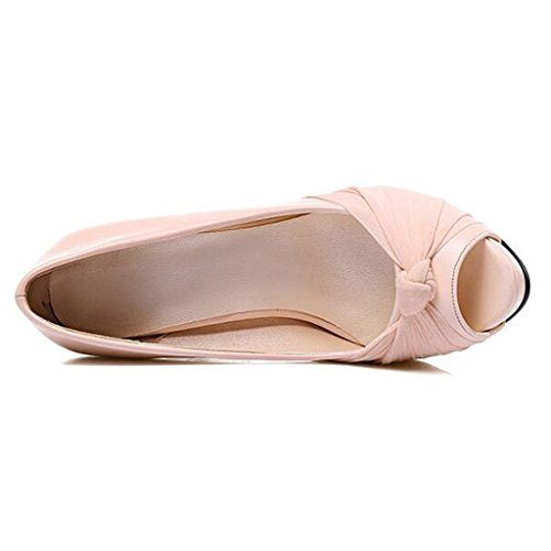 Mouth Shallow Mouth Mesh Heel Shoes 1 Upper Heels Thin Fish Summer High Nude PU Women's Color Hq7F8PPx