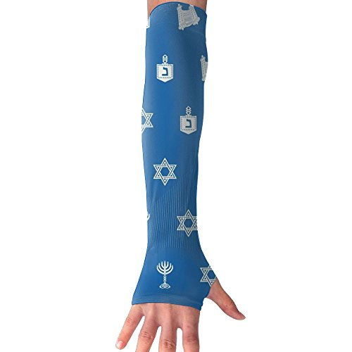Hanukkah Motif Blue UV Protection, Compression & Cooling Arm Sleeves For Cycling/Golf/Basketball/ Other ()