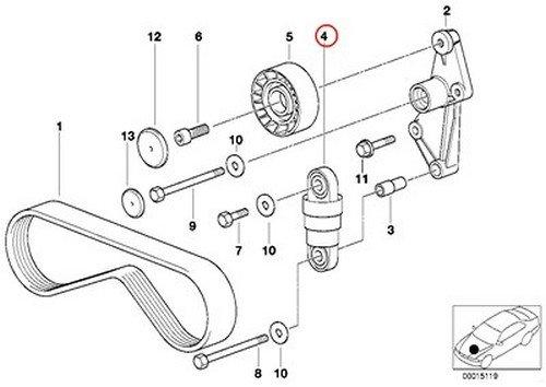BMW OEM Drive Belt Tensioner A//C AC Climate Compressor Belt E34 E36 E39 Z3 525i 320i 323i 325i 325is 328i M3 M3 3.2 528i Z3 2.5 Z3 2.8 Z3 M3.2