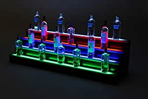 Vipply 4 Niveles de Licor para Botellas con Estante LED para exhibir Botellas