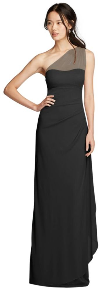 Long Mesh One Shoulder Illusion Bridesmaid Dress Style F19074, Black, 10