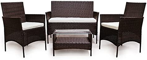 LD - Conjunto de muebles de jardín (ratán sintético), color marrón: Amazon.es: Jardín