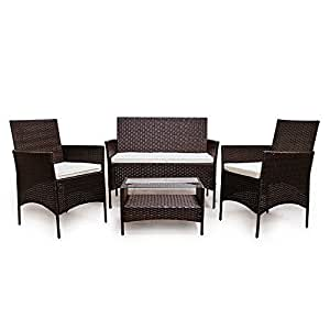 LD ratán marrón Lounge sofá (Polirratán Asiento Grupo Muebles de Jardín