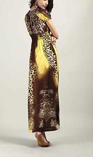 Donna Stampa Etnico Eleganti Da Fashionable Dresses Vestito Vestiti Boho Lungo Targogo Vestiti Vintage Leopard Manica Scollo Vestiti Corta Lunghi V Stile Giallo Estivi Spiaggia xpS5q45wv