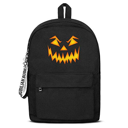 Halloween Scary Pumpkin Face Women Men Water Resistant Black Canvas School Backpack Laptop Backpack