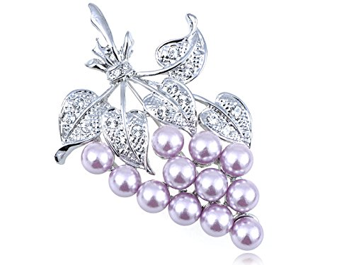 Alilang Swarovski Crystal Elements A Bunch of Lavender Faux Pearl Bead Grapes Pin ()