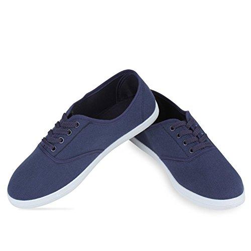 Damen Flandell Sneaker Low Herren Basic Unisex Blau Stiefelparadies 4YxadRa