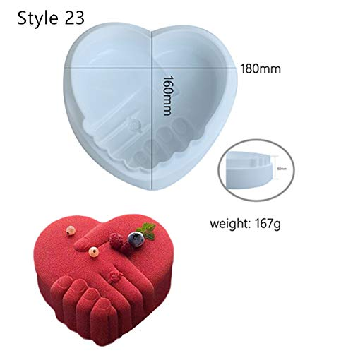 (Art Cake Decorating Mold 3D Silicone Molds Baking Tools for Heart Round Cakes Chocolate Brownie Mousse Make Dessert Pan)