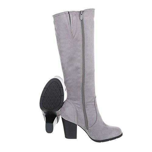 Ital-Design Chaussures Femme Bottes et Bottines Kitten-Heel Bottes a Talon gris 158-GG ZV8G0Oox