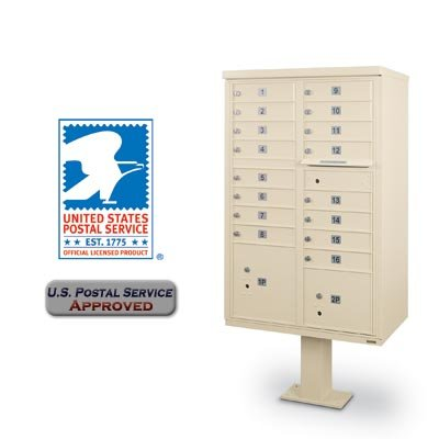 Box Security High Cluster - Postal Products Unlimited 16 Door F Spec Cluster Box Unit with Pedestal Sandstone