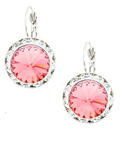 Peach-Rose Round Rhinestone Dangle Drop Earrings w/ Clear Rhinestone Border, 1