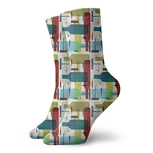 Men Multicolored Pattern Winery Retro Alcoholic Beverages Hiker Boot Sock
