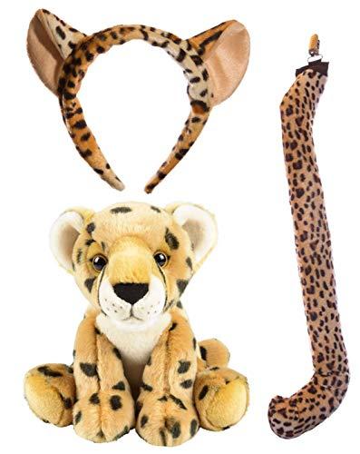 Wildlife Tree Stuffed Plush Cheetah Ears Headband and Tail Set with Baby Plush Toy Cheetah Bundle for Pretend Play Animals Dressup ()