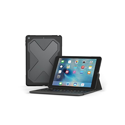 "ZAGG – Rugged Messenger – Backlit Case and Bluetooth Keyboard – 2017 Apple iPad 9.7"" Compatible – Durable Screen Protector – Built-In Stand – Multiple-Device Pairing – Black (For Keyboard Ipad With Apple Case)"