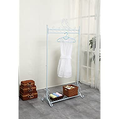 Chic and Sturdy Garment Rack - Clothing Racks with Bottom Shelf for Shoes - Metal Hanging Clothes Stand (White)