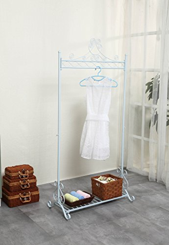 Chic Coat Garment Rack Metal Hanging Clothing Racks Stand with Bottom Shelf for Shoes (White)