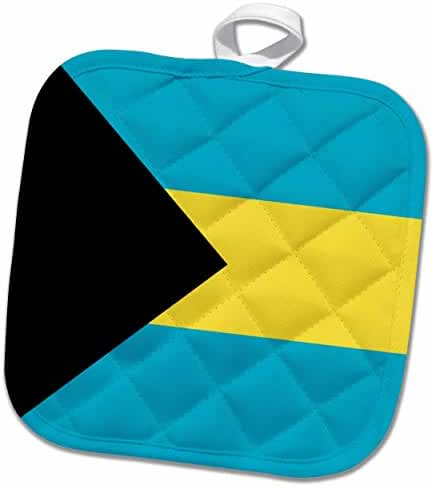 3dRose InspirationzStore Flags - Flag of the Bahamas islands. Bahamian blue yellow gold stripes black triangle country world souvenir - 8x8 Potholder (phl_158449_1)