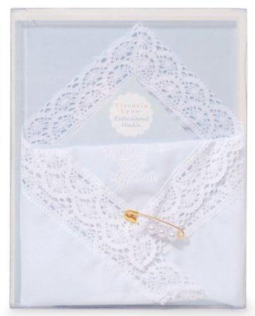 Darice VL3067 Mother of The Groom Embossed Handkerchief Hankies with Pearl Pin ()