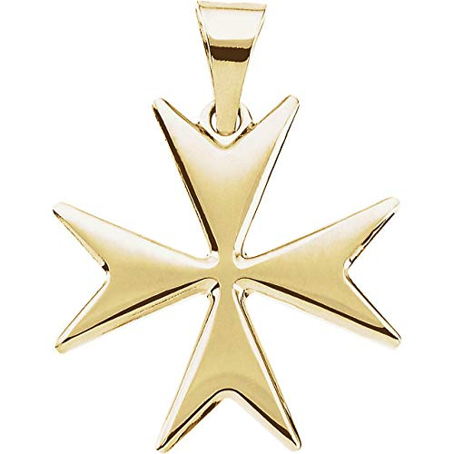 Jewleryweb Solid 14k Yellow Gold Polished Maltese Cross Pendant Necklace 18mm