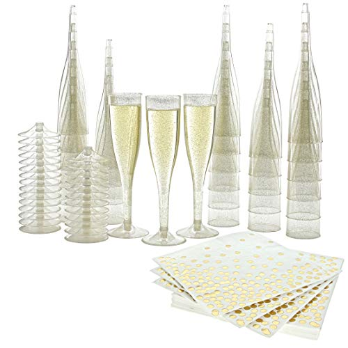 Party Supplies Plastic Champagne Flutes and Napkins ~ 60 Piece Set ~ 30 Premium Luxury Gold Shimmer Disposable Glasses and 30 Heavy Duty Napkins ~ FDA Certified ~ BPA Free