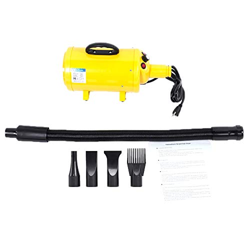 (Yoshioe 3.8HP Portable Dog Cat Pet Grooming Blower Hair Dryer 3-Level Wind Adjustable Quick Draw with 4 Nozzles Waterproof IPX4 Yellow)